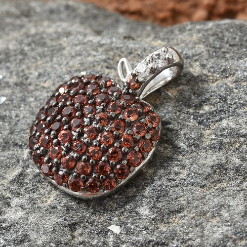 Mozambique Garnet (Rnd), Natural Cambodian Zircon Apple Pendant in Black and Platinum Overlay Sterling Silver 1.000 Ct.