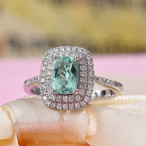 RHAPSODY 950 Platinum AAAA Mozambique Paraiba Tourmaline (Cush 7.5x5.5mm), Diamond (VS/E-F) Ring 1.48 Ct, Platinum wt 5.30 Gms
