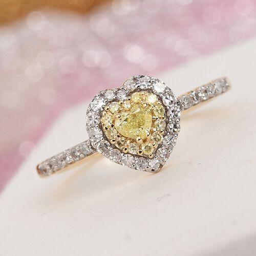14K Yellow Gold Natural Yellow Diamond and White Diamond Heart Ring 0.50 Ct.