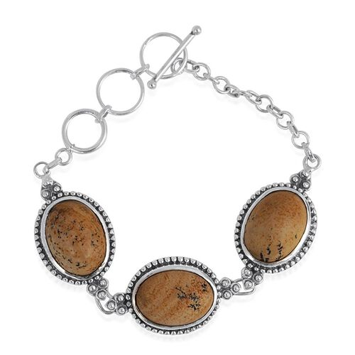 Jewels of India Picture Jasper (Ovl) Bracelet in Sterling Silver (Size 7.5) 33.030 Ct.