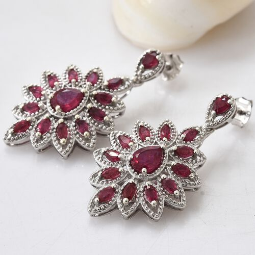 African Ruby (Pear) Earrings (with Push Back) in Platinum Overlay Sterling Silver 5.000 Ct. Silver wt 9.92 Gms.