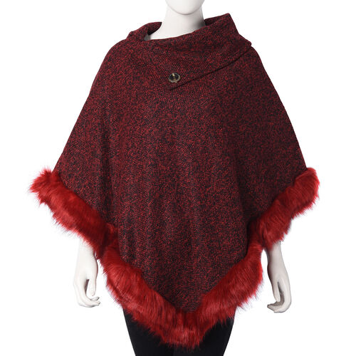 Faux Fur Warm Poncho with Fluffy Edges (Size 80x90 Cm) - Burgundy
