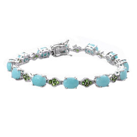 15.75 Ct Peruvian Amazonite and Russian Diopside Tennis Style Bracelet in Platinum Plated Sterling S