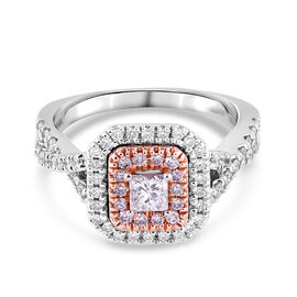 14K White and Yellow Gold Natural Pink Diamond and White Diamond (I1/G-H) Ring 1.00 Ct, Gold wt 4.70