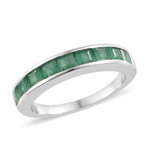 ILIANA 18K White Gold AAA Kagem Zambian Emerald (Sqr) Half Eternity Band Ring 1.250  Ct.
