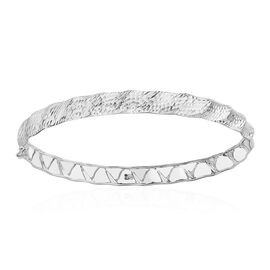 Italian Made Diamond Cut Wave Bangle in 9K White Gold 3.30 Grams 7.5 Inch
