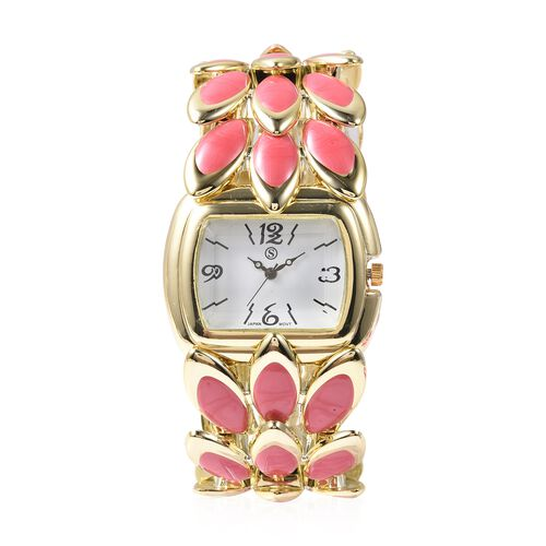 2 Piece Set - STRADA Japanese Movement Water Resistant Bracelet Watch and Fuschia Agate Stretchable Bracelet (Size 6.5-7.0) with Butterfly Charm in Yellow Gold Plated