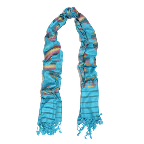 Multi Colour Butterfly Pattern Blue Colour Jacquard Scarf with Fringes (Size 200x70 Cm)