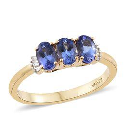 ILIANA 1.55 Ct AAA Tanzanite and Diamond (SI/G-H) Ring in 18K Gold