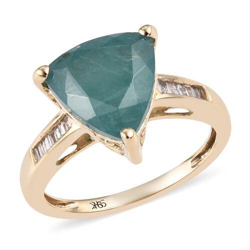 3.85 Ct AA Grandidierite and Diamond Ring in 9K Gold 2.47 Grams