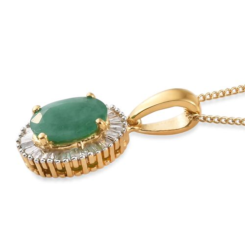 Kagem Zambian Emerald (Ovl 1.10 Ct), Diamond Pendant With Chain in 14K Gold Overlay Sterling Silver 1.250 Ct.