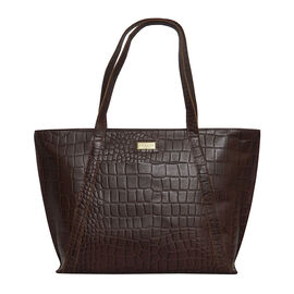 Assots London AGNES Croc Embossed Genuine Leather Tote Bag with Zipper Closure (Size 33x11x26) - Bro