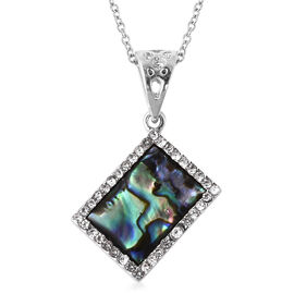Abalone Shell and White Austrian Crystal Pendant with Chain in Stainless Steel