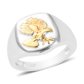 Platinum and Yellow Gold Overlay Sterling Silver Eagle Signet Ring, Silver wt. 5.00 Gms