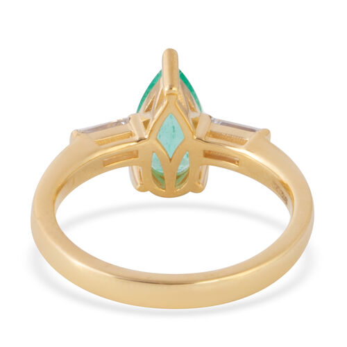 ILIANA 18K Yellow Gold AAA Boyaca Colombian Emerald (Pear), Diamond (SI/G-H) Ring 1.315 Ct.