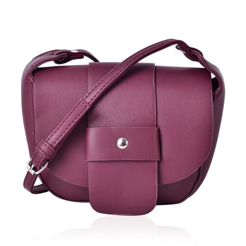 Burgundy Colour Crossbody Bag with Magnetic Closure Flap and Adjustable Shoulder Strap (Size 19x16x6