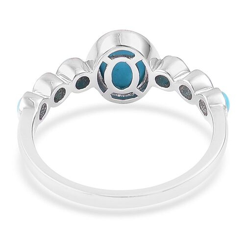 Arizona Sleeping Beauty Turquoise (Ovl 1.15 Ct) Ring in Platinum Overlay Sterling Silver 1.575 Ct.