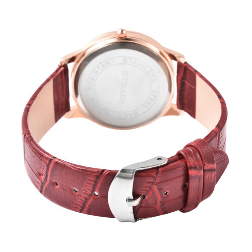 2 Piece Set - STRADA Japanese Movement White Austrian Crystal Studded Watch with Wine Red Strap and Mozambique Garnet (104.00 ct.) Beaded Bracelet in Dual Tone