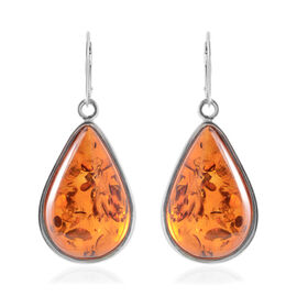 Baltic Amber (Pear) Lever Back Earrings in Sterling Silver, Silver wt 10.00 Gms