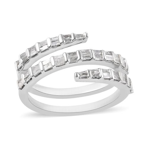 Diamond (Bgt) Spiral Ring in Platinum Overlay Sterling Silver 0.50 Ct.