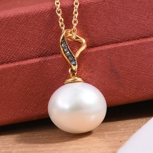 Edison Pearl (14 - 15 mm), Diamond Pendant With Chain (Size 20) in 14K Gold Overlay Sterling Silver