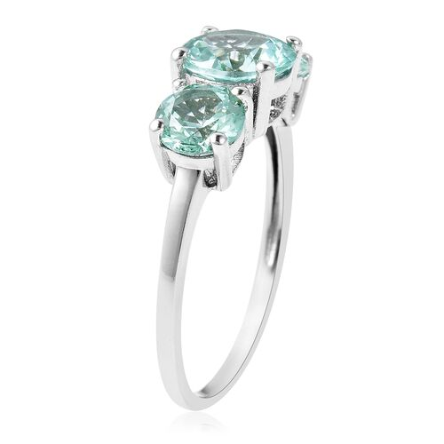 Lustro Stella Simulated Paraiba Tourmaline (Rnd) 3 Stone Ring in Rhodium Overaly Sterling Silver