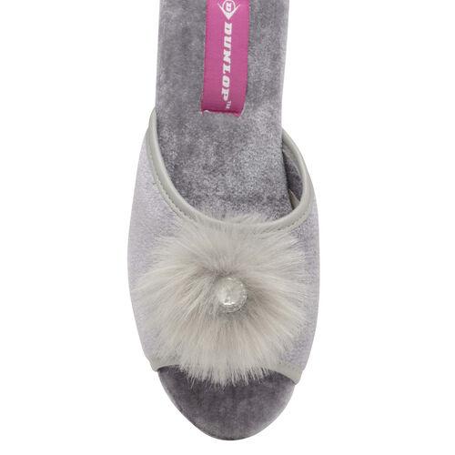 Dunlop Marilyn Boa Wedge Slipper Mules (Size 4) - Grey