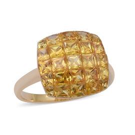 ILIANA 18K Yellow Gold AAA Yellow Sapphire Cluster Ring 4.19 Ct.
