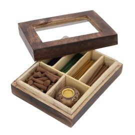 Wooden Incense Gift Set with (120) Incense Sticks, Incense Cones and Wooden Holder  - Casablanca Rom