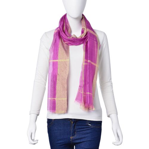 New Season-Purple Colour Scarf with Golden Threads (35% Silk Content) (180x70 Cm)