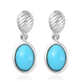 AA Arizona Sleeping Beauty Turquoise Drop Earrings (with Push Back) in Platinum Overlay Sterling Sil