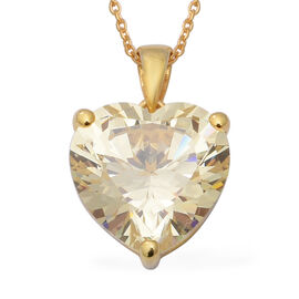 ELANZA Swiss Star Cubic Zirconia Solitaire Heart Pendant With Chain in Gold Plated Silver