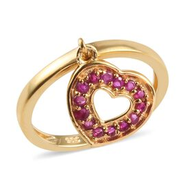0.50 Ct African Ruby Heart Charm Stacker Ring in Gold Plated Sterling Silver