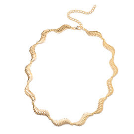 LucyQ Wave Necklace (Size 17 with 3 inch Extender) in Yellow Gold Overlay Sterling Silver