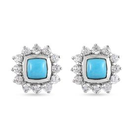 Arizona Sleeping Beauty Turquoise and Natural Cambodian Zircon Stud Earrings (with Push Back) in Pla