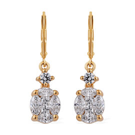 J Francis Made with Swarovski Zirconia Cluster Drop Earrings in Gold Plated Sterling Silver