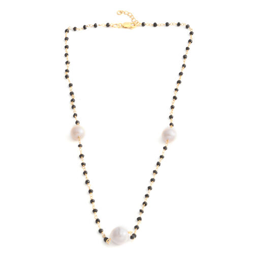 Fresh Water Baroque Pearl, Boi Ploi Black Spinel Beads Necklace (Size 18 with 1 inch Extender) in Yellow Gold Overlay Sterling Silver
