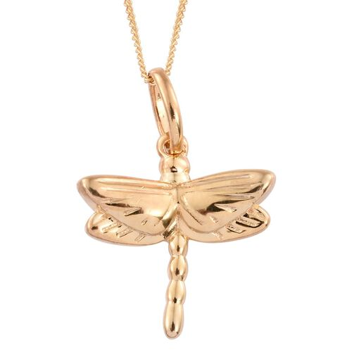 14K Gold Overlay Sterling Silver Dragonfly Pendant With Chain, Silver wt. 3.12 Gms.