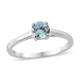 9K White Gold Blue Zircon (Rnd) Solitaire Ring 0.650 Ct.
