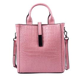 Sencillez Croc Embossed 100% Genuine Leather Convertible Bag in Pink (26x12x26 Cm)