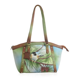 SUKRITI  - 100% Genuine Leather Hand Painted Sparrow Pattern Tote Bag (Size 40.64x24.76x9.9 Cm)