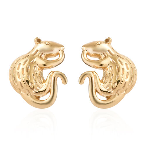 14K Gold Overlay Sterling Silver Mouse Earrings (With Push Back)