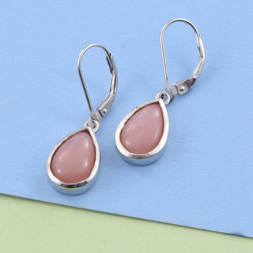 Natural Peruvian Pink Opal (Pear) Lever Back Earrings in Platinum Overlay Sterling Silver 5.250 Ct.