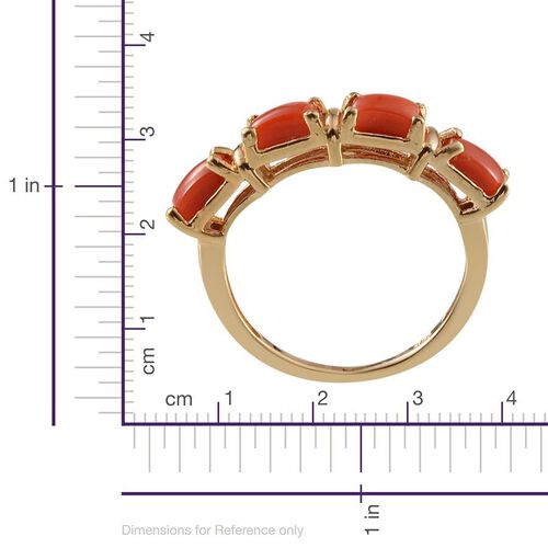 Mediterranean Coral (1.20 Ct) 14K Gold Overlay Sterling Silver Ring  1.200  Ct.