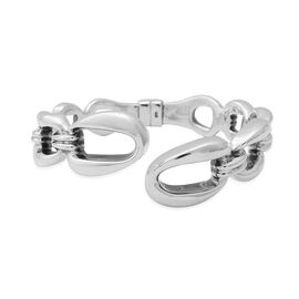 Handmade Link Adjustable Bangle in Rhodium Plated Silver 22.30 Grams 7.5 Inch