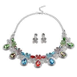 2 Piece Set - Simulated Multi Colour Gemstone and Multi Colour Austrain Crystal Necklace (Size 20 wi