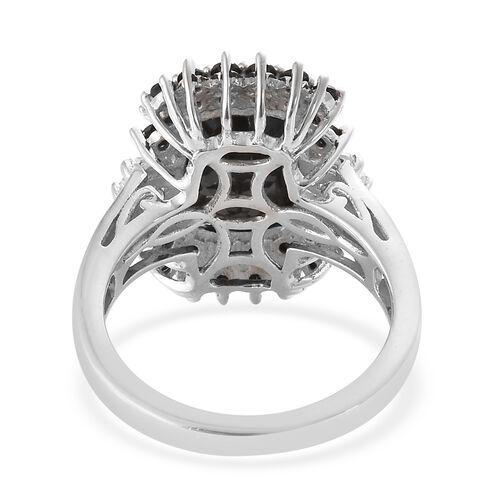 Black Tourmaline (Cush 4.19 Ct), Boi Ploi Black Spinel,Natural Cambodian Zircon Ring in Platinum Overlay Sterling Silver 5.500 Ct.