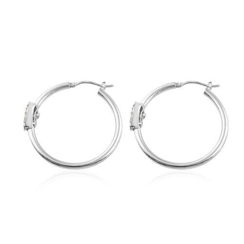 GP Diamond (Taper Bagguet), Kanchanaburi Blue Sapphire Heart Hoop Earrings (with Clasp) in Platinum Overlay Sterling Silver 0.560 Ct.