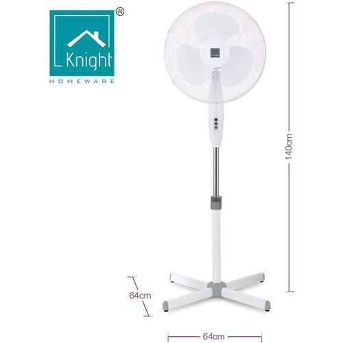 Pedestal Stand 16 Inch Fan (140cm Adjustable Height, 3 Speed Setting, Extra Wide Cross Base, Oscillating, Tilting Head)