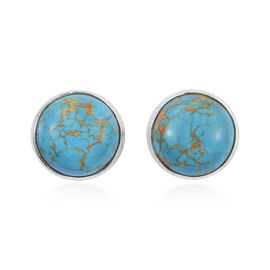Mojave Blue Turquoise (Rnd) Stud Earrings (with Push Back) in Sterling Silver 5.200  Ct.